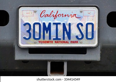 BRYCE CANYON, UT -24 AUG 2013- Vanity license plate from California, USA which says 30MINSO.