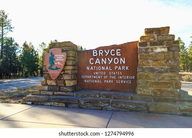 Bryce Canyon, UT, USA - November 14, 2018 : Sign at the entrance to Bryce Canyon National Park on US-63 just south of famous Rubby's Inn in Western Frontier town of Bryce in Utah State, USA