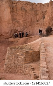 BRYCE CANYON, UTAH - FEBRUARY 5, 2018: Tourists explore the trails in beautiful Bryce Canyon National Park.  Bryce Canyon is actually a collection of natural amphitheaters