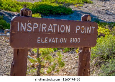 BRYCE CANYON, UTAH, JUNE, 07, 2018: Outdoor view of informative sign of altitude if inspiration point at Bryce Canyon National Park in Utah, United States Wooden Sign