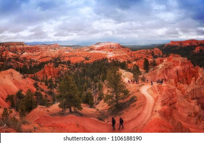 BRYCE CANYON, UTAH - MAY 23: Hikers on Trail at Thor's Hammer at Bryce Canyon National Park, Utah on May 23, 2015