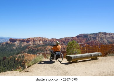 BRYCE CANYON, UTAH - SEPTEMBER 23: Unidentified handicapped visitor at the rim at Bryce Canyon National Park in Utah on September 23, 2014