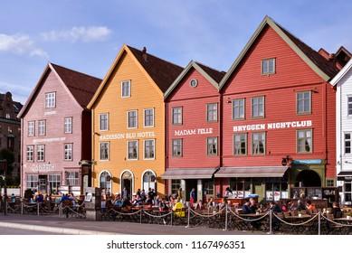 Bryggen, Bergen/Norway - AUg. 9, 2018: Historical wooden landmark buildings on Bryggen, the old wharf of Bergen, Norway.