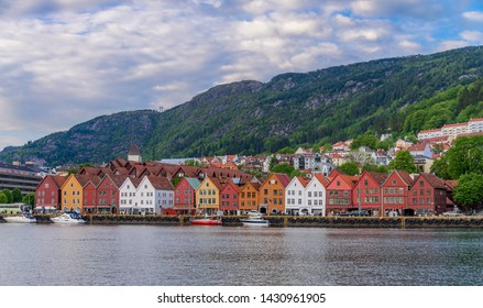 Bryggen, the historical colorful building in Bergen city, Norway.