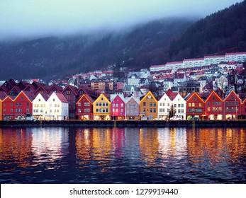 Bryggen is the world heritage site in Bergen,Norway