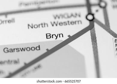 Bryn Station. Liverpool Metro map.
