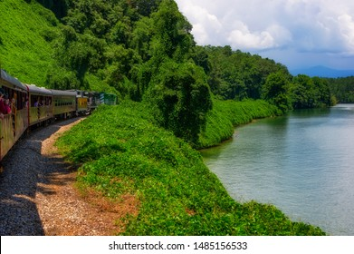 Bryson, North Carolina, USA - August 3, 2019:  View of Nantahala Lake as seen from one of many passenger cars on a train traveling through the Nantahala National Forest.