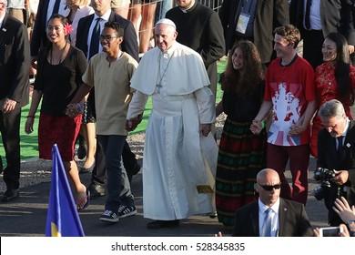 BRZEGI, POLAND - JULY 29, 2016: World Youth Day 2016 , Brzegi near Krakow o/p pope Francis