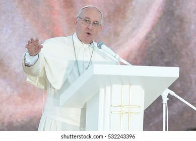BRZEGI, POLAND - JULY 30, 2016: World Youth Day 2016 , Brzegi near Krakow o/p  pope Francis
