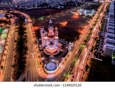 BSD junction, floating castle area beautiful night aerial photo, taken by drone camera: Serpong, Tangerang Selatan, Indonesia - July 2018