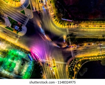 BSD junction top down view at night traffic, taken by drone camera: Serpong, Tangerang Selatan, Indonesia - July 2018