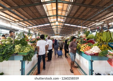 BSD, Tangerang, Indonesia - November 24, 2018: Line of vegetable seller at traditional market.
