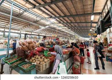 BSD, Tangerang, Indonesia - November 24, 2018: People trading at traditional market, Pasar Modern BSD.