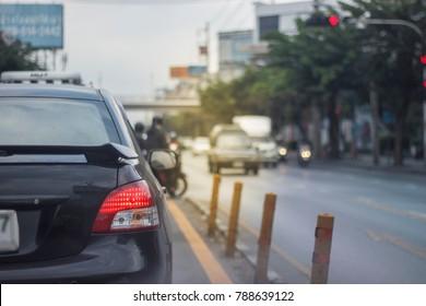 B-Segment Black Car Waiting Green Light to U-Turn , Orange Light Added , DOF , Traffic Jam