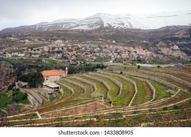Bsharri, convent and snow mountainin Quadisha valley, Lebanon
