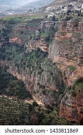Bsharri and Deir Mar Elisha monastery in Quadisha valley in Lebanon