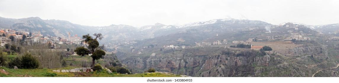 BSHARRI, LEBANON - CIRCA APRIL 2019 View from St. George church