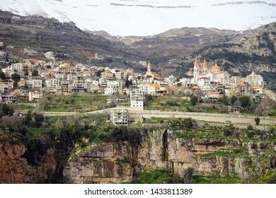 BSHARRI, LEBANON - CIRCA APRIL 2019 View from opposit side of valley