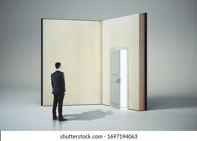 Bsinessman looking at abstract open book with door on white background. Opportunity, education and business concept. 3D Rendering