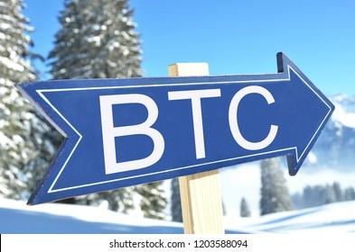 BTC (BITCOIN) road sign