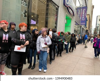BTS Army line outside the BTS pop up shop in Chicago Illinois on May 11, 2019