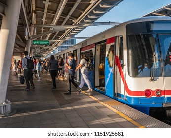 BTS Mo chit sky train station,Bangkok Thailand 2 Aug 2018:People wait for arriving of the train BTS(Bangkok mass transit system)is the rapid transit system in Bangkok