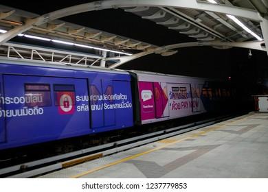 BTS Mo chit sky train station,Bangkok Thailand 15 Nov 2018:The train depart from Mo chit station BTS(Bangkok mass transit system)is the rapid transit system in Bangkok
