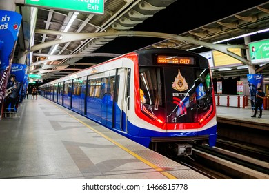 BTS Mo chit sky train station,Bangkok Thailand 26 June 2019:Train arriving the station   BTS(Bangkok mass transit system)is the rapid transit system in Bangkok