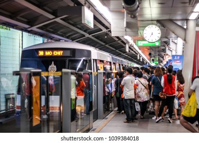 BTS Siam BANGKOK, THAILAND - JUNE 20, 2016 :.passengers traveling at Siam Sky Train Station (BTS) on, JUNE 20 2016, in Thailand. Passengers are waiting for the train to Mo Chit.