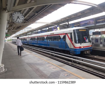 BTS Station BANGKOK,THAILAND-17 AUGUST 2018: On the train station there are not many passengers. on,17 AUGUST 2018, in Thailand.