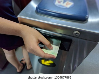 BTS Thailand, Passenger use BTS ticket to entrance in subway station.