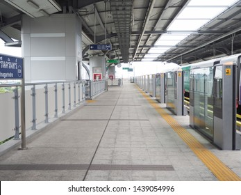 """BTS train at subway station in Bangkok, Thailand. Thai word is mean """" Exit and Lift"""""""