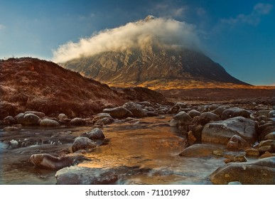 Buachaille Etive Mor in winter. The iconic Scottish mountain Buachaille Etive Mor, a must for climbers from around the world.