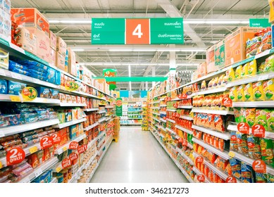 Buayai Nakhonratchasima, 20 DECEMBER 2015: Rows of shelves in Tesco Lotus supermarket in Buayai district, Nakhonratchasima province, Thailand. Tesco Lotus is a largest hypermarket chain in Thailand