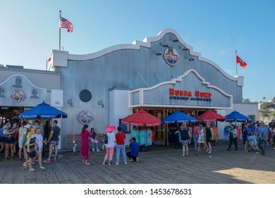 Bubba Gump Shrimp Company on Santa Monica pier. The restaurant is famous for being featured in the Oscar winning movie Forrest Gump, California, USA.  07/13/2019