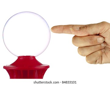 Bubble about to burst, maybe financial metaphor, isolated over white background