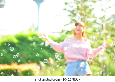Bubble in the garden. Background taxture. Blurred.