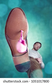 Bubble gum stuck to the shoe