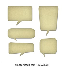 bubble talk tag recycled paper on white background