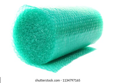 Bubble Wrap Roll. Blue Bubble wrap for shipping and storage of fragile items. Isolated on white. Room for text.