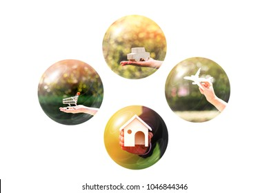 Bubbles for business investment dreams loan concept with plan as buy home and car and shopping and a travel in the future on white background.