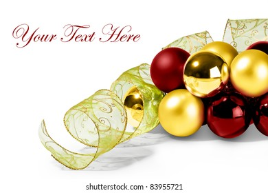 Bubbles and Christmas Ribbon for a beautiful Merry Christmas card or invitation letter