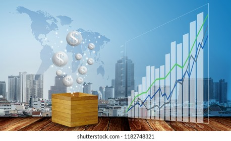 Bubbles of money and growth graph with cityscape background, Bubble of economy concept
