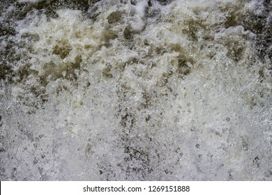 Bubbles of water splashed caused by an electric water turbine.