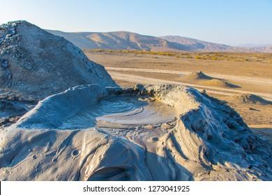 Bubbling crater of a mud volcano. Mud volcano at Gobustan national park erupt,  Azerbaijan