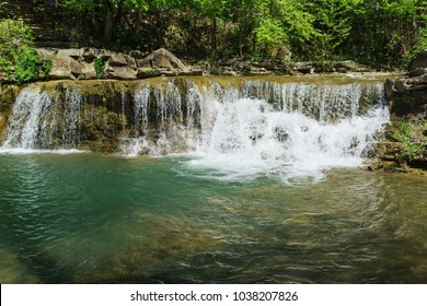 A bubbling stream of pure mountain river Zhane near the village Vozrozhdenie. Russia, Gelendzhik