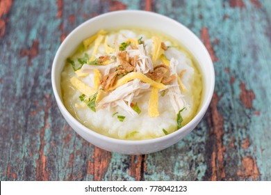Bubur ayam, Indonesian rice porridge with shredded chicken