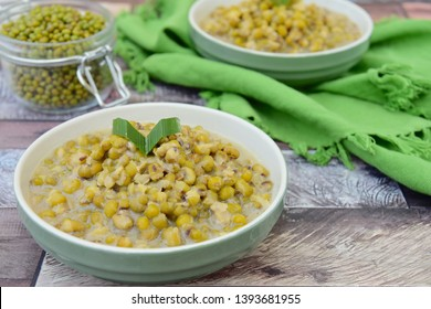 Bubur Kacang Hijau, Indonesian dessert made from mung beans cooked in coconut milk and palm sugar flavored with pandan leaves. Popular during Ramadan