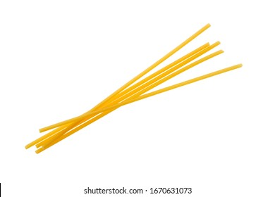Bucatini or perciatelli - thick spaghetti-like pasta with a hole running through the center isolated on white