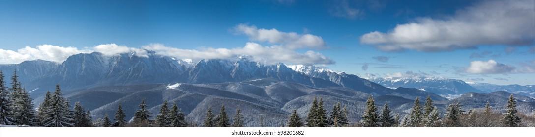 Bucegi mountains, Romania, in the winter panorama
